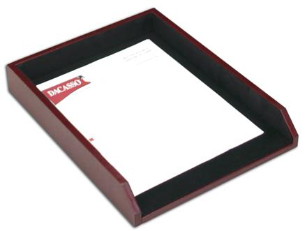 Contemporary Burgundy & Black Leather Letter Tray