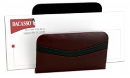 Contemporary Burgundy & Black Leather Letter Rack