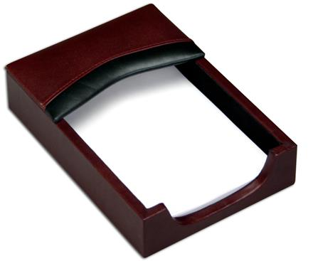 Contemporary Burgundy & Black Leather Memo Holder