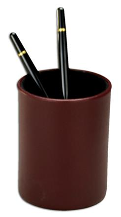 Contemporary Burgundy & Black Leather Pencil Cup
