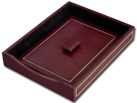 24 Kt. Gold Tooled Burgundy Letter Tray