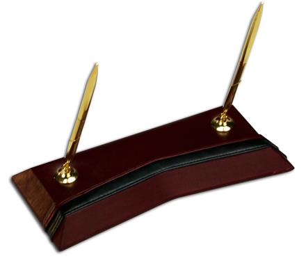 Contemporary Burgundy & Black Leather Double Pen Stand