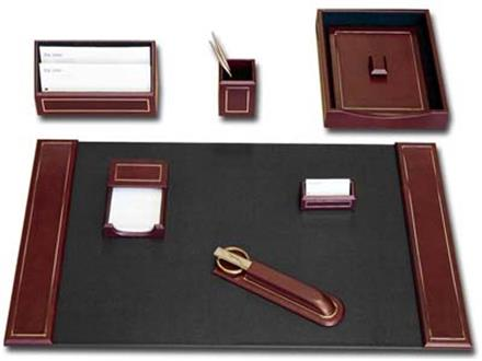 24 Kt. Gold Tooled Burgundy Business 7 Piece Desk Set